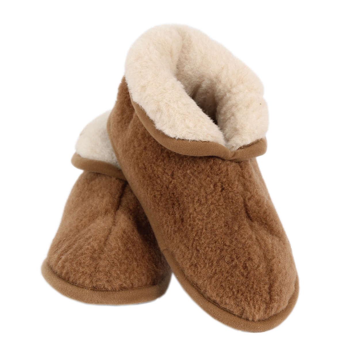Halfhoge pantoffels in camel wol