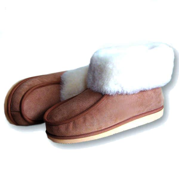 Hoge pantoffels met stevige zool in merino wol